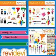 Painting class clip art bundle (3 packs) art supplies.