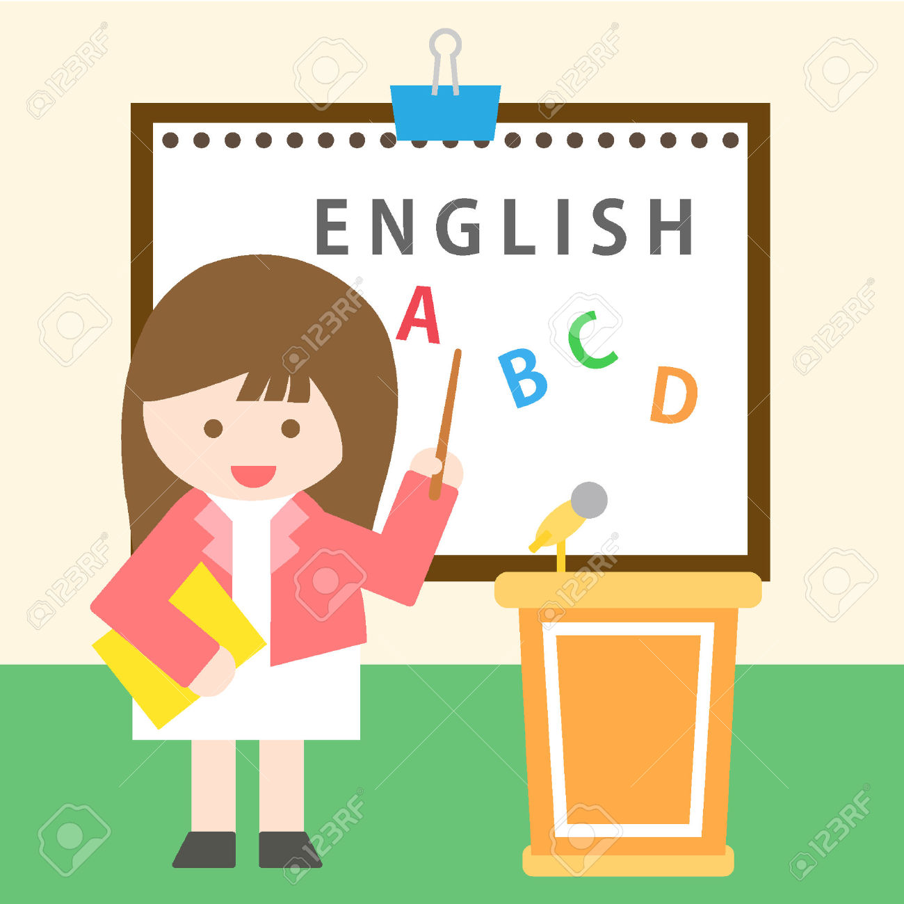 Clipart Teacher Standing Before The Class.