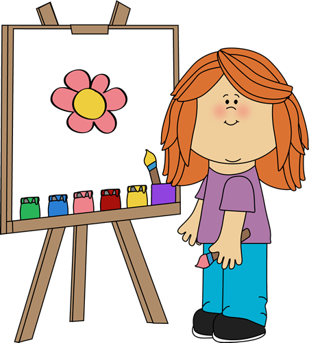 Girl Painting on Easel.