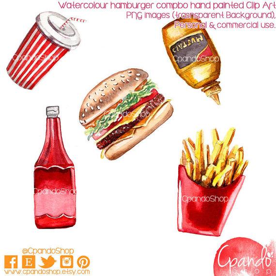 Hamburger Combo hand painted watercolor Clip art (5 Png Images 300.