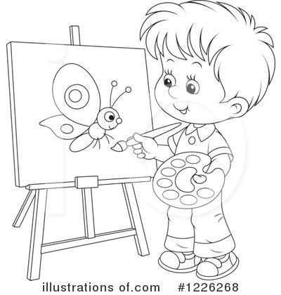Boy Painting Clipart Black And White.
