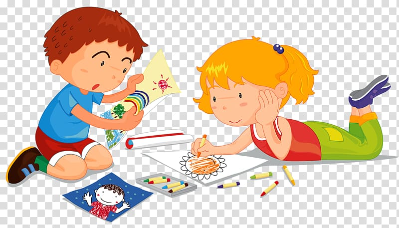 Childrens Drawing Painting Illustration, Painting children.
