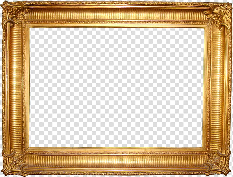 Frames, rectangular gold painting frame transparent.