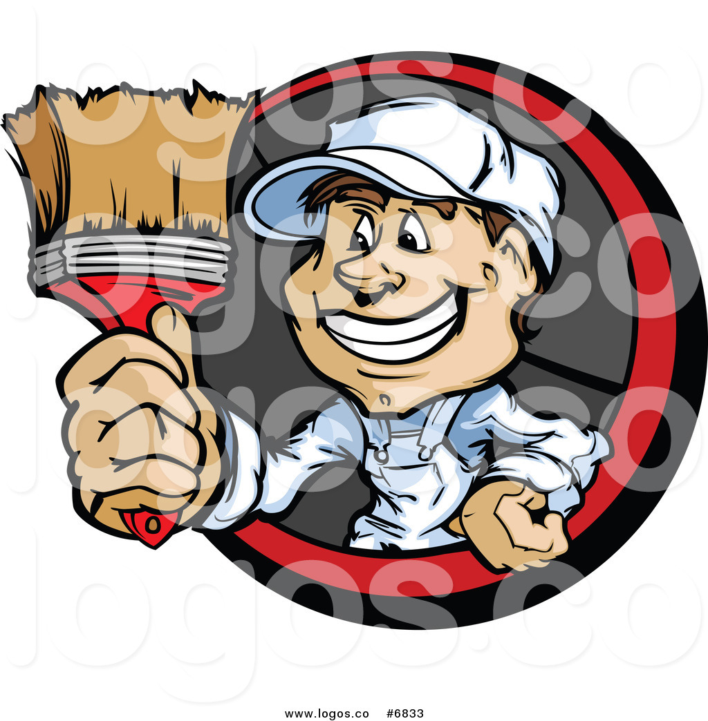 Royalty Free Clip Art Vector Logo of a Painter Guy Holding.