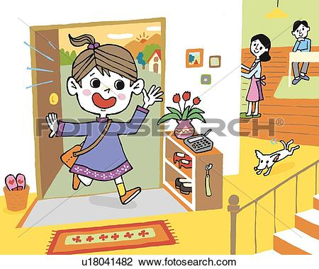 Clip Art of Girl coming home, Painting, Illustration, Illustrative.
