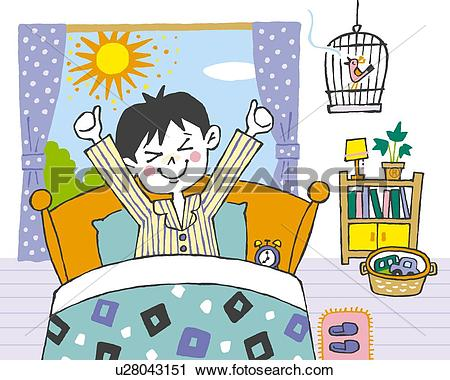 Clipart of Boy waking up in the morning, Painting, Illustration.