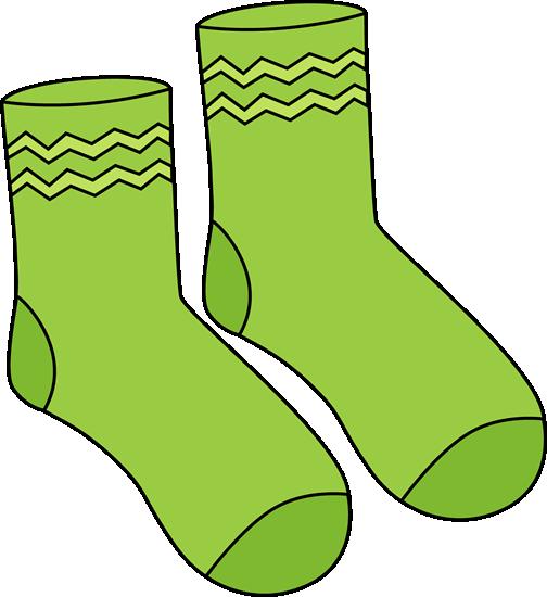 Pair of Green Socks Clip Art.
