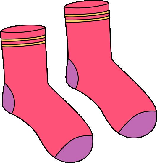 Pink Pair of Socks Clip Art.