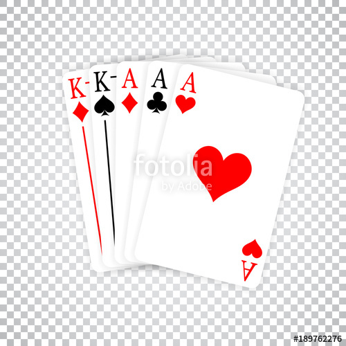 A Poker Hand Full House three Aces and pair of Kings playing.