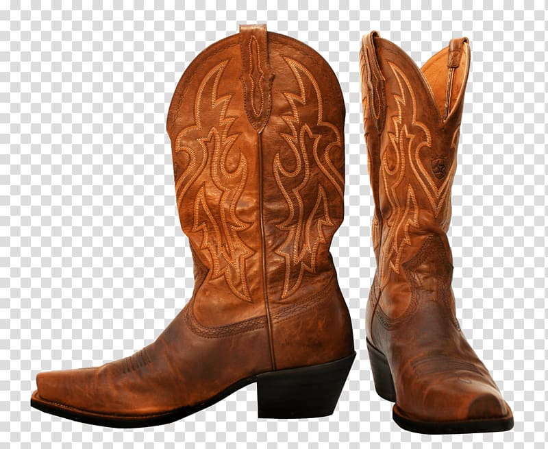 Pair of brown leather cowboy boots, Pair Of Cowboy Boots.