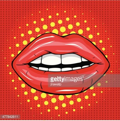 Sweet Pair of Glossy Vector Lips Clipart Image.