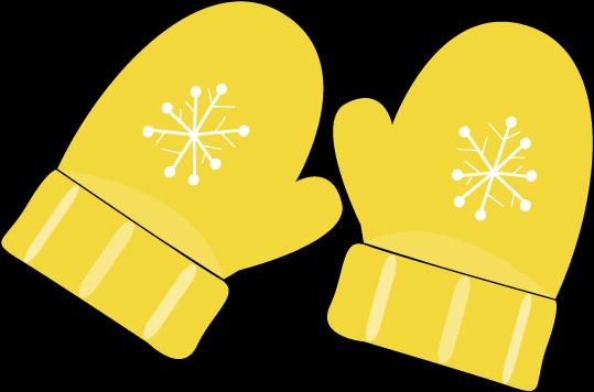 Yellow Mittens Clip Art.