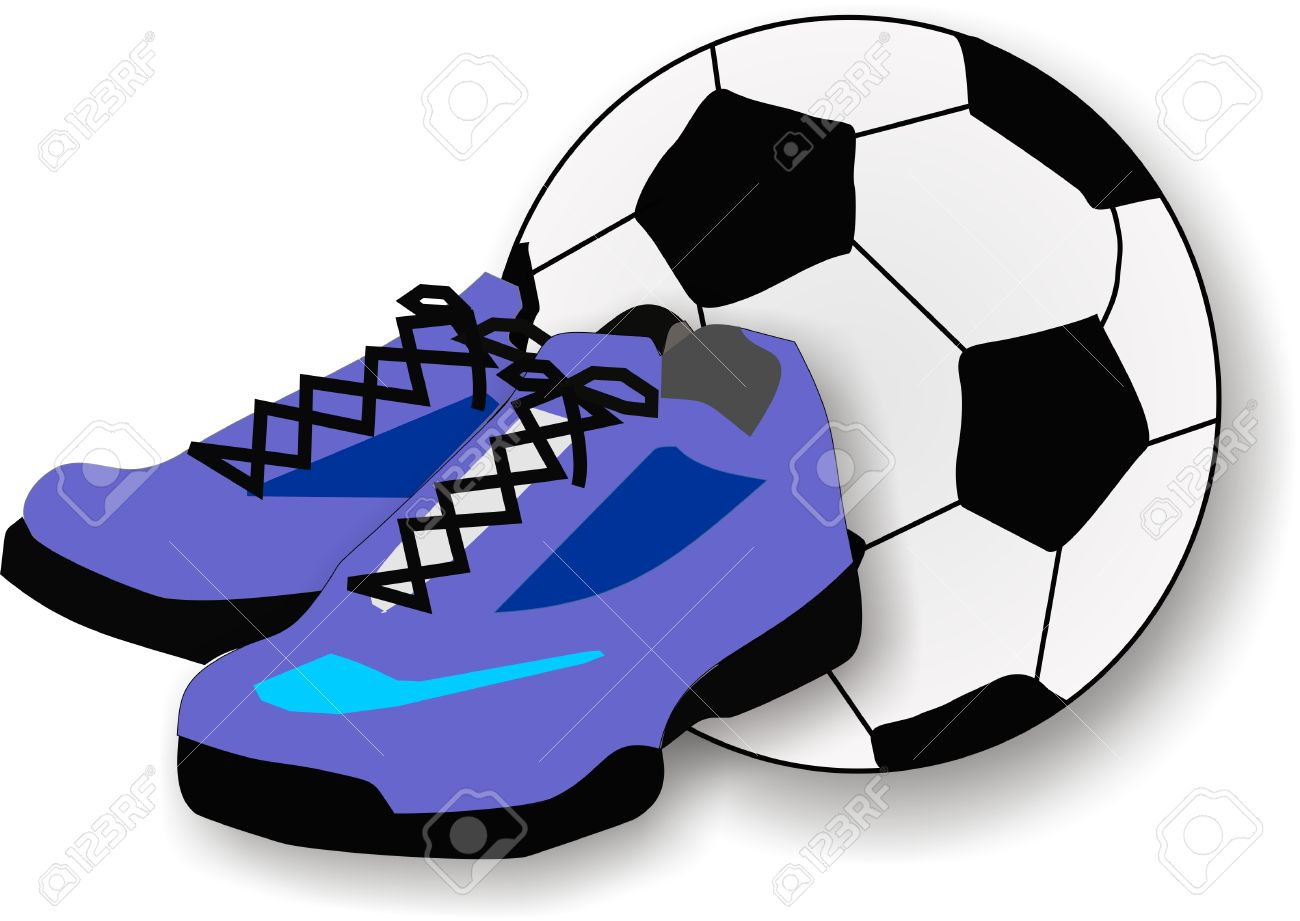 Pair Of Running Shoes And A Soccer Or Football, In The Background.