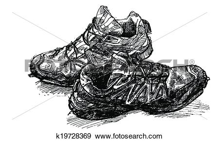 Clip Art of Pair of old running shoe k19728369.