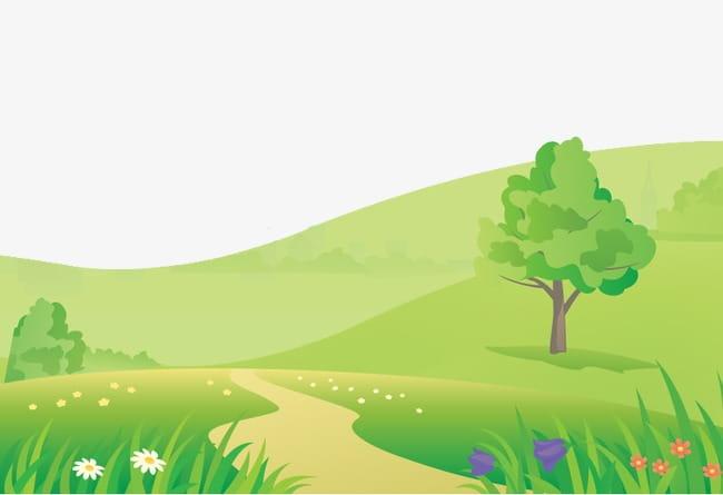 Cartoon landscape PNG clipart.