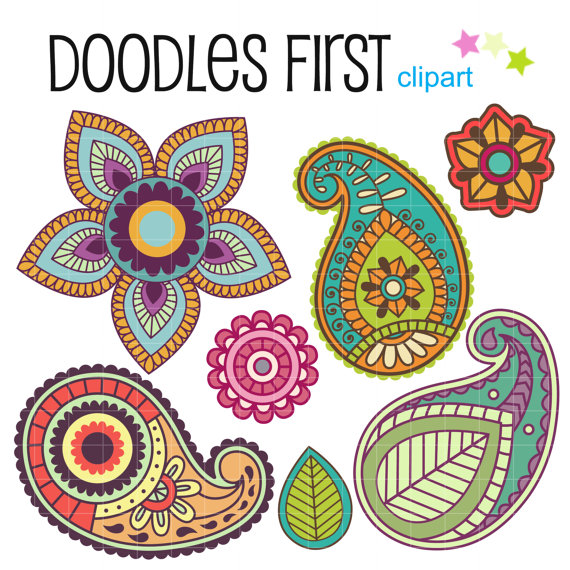 Pretty Paisley Clipart Digital Clip Art for Scrapbooking.