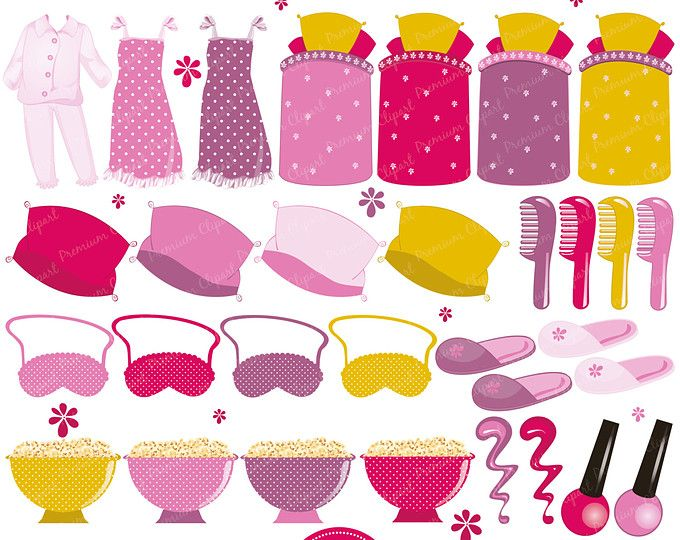 Pajama Party Clipart, Girls Pajama Feet clipart (CG154).