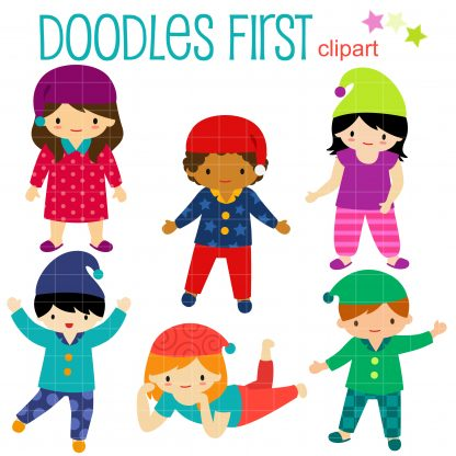 Pajama Party Kids Clip Art Set.