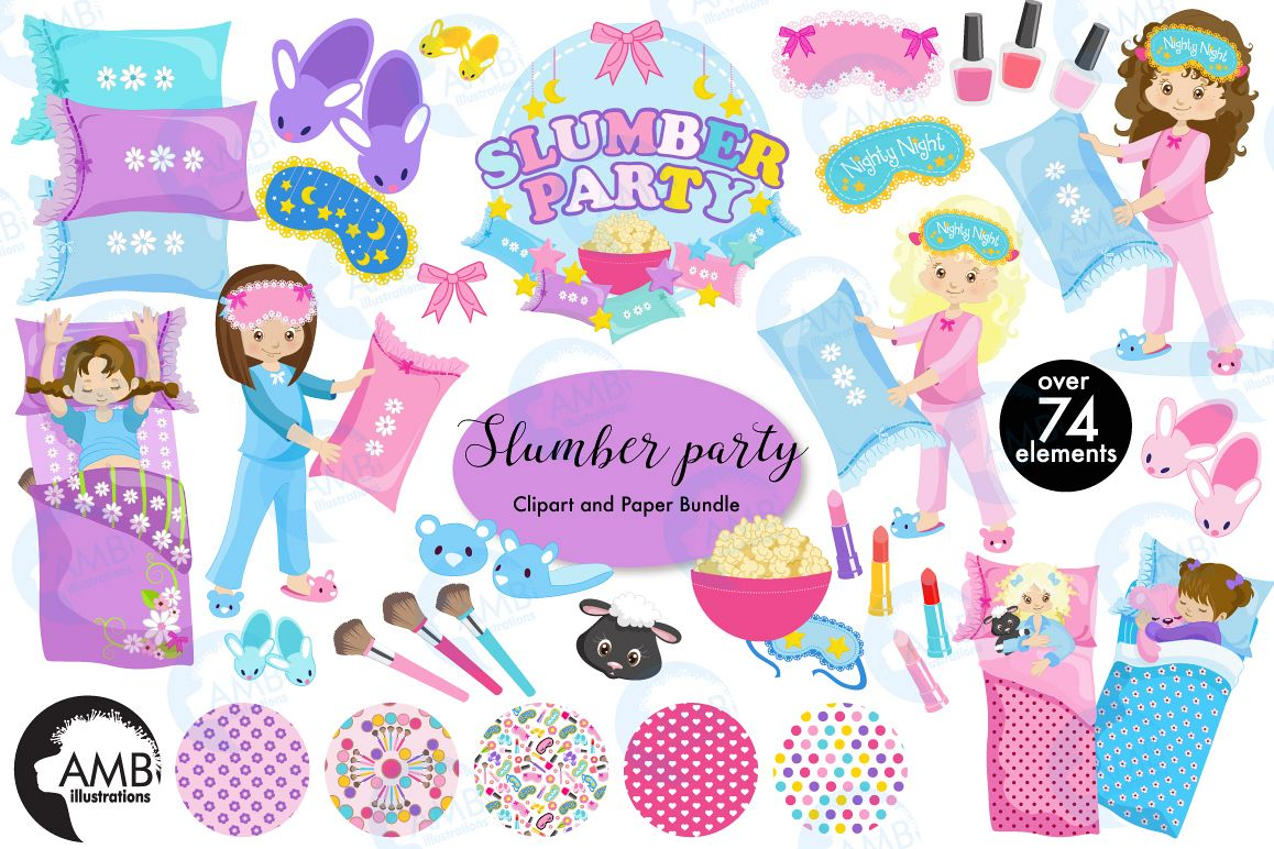Slumber party, Pyjama Party clipart MEGA Bundle, graphics AMB.
