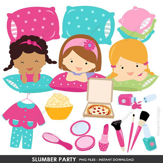 Slumber Party Clipart, Pajamas Party, Girl Sleepover.