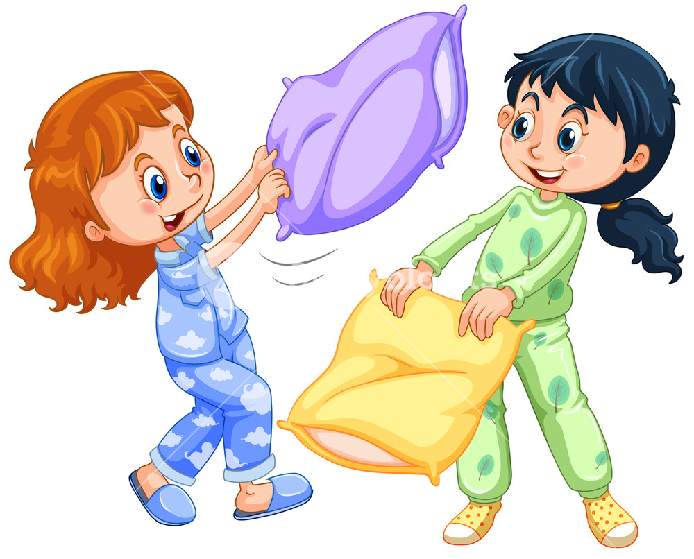 Girls playing pillow fight at slumber party illustration.