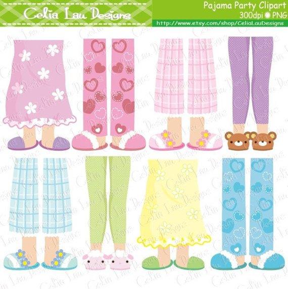 Pajama Party Clipart, Girls Pajama Feet clipart (CG154.