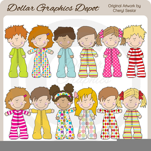 Child In Pajamas Clipart.