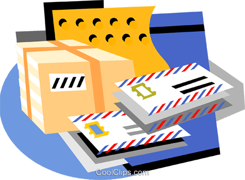 parcels and letters for postage Royalty Free Vector Clip Art.