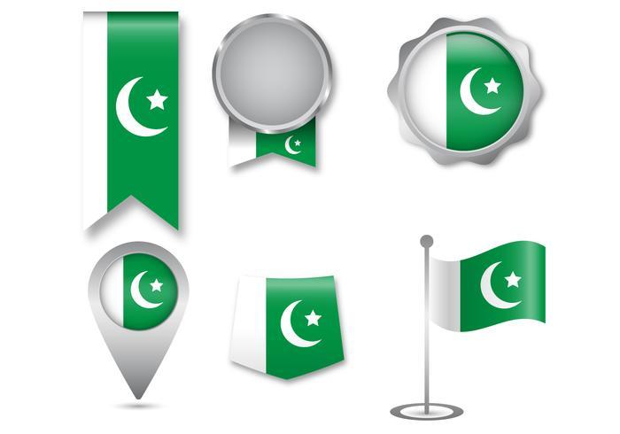 Pakistan Flag Icon Set.