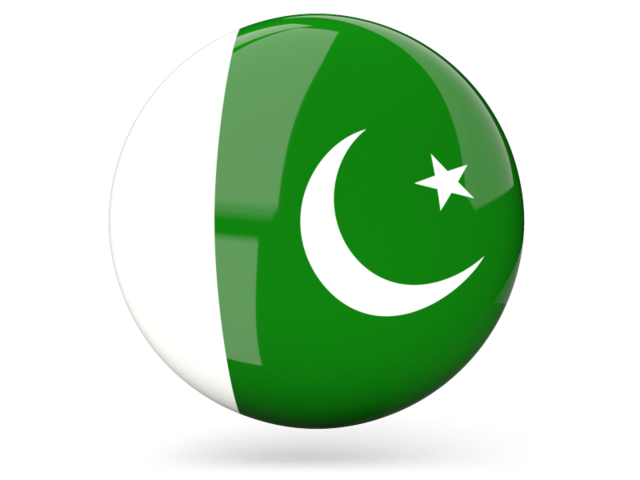 Glossy round icon. Illustration of flag of Pakistan.