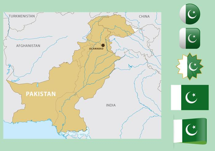 Pakistan Map And Flags.