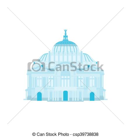 Vectors of Palace of Fine Arts silhouette in blue colors. Vector.