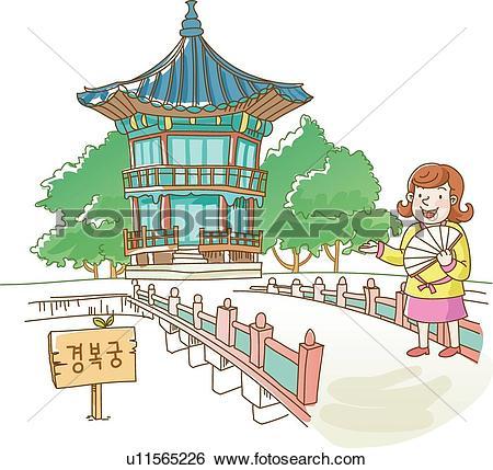 Stock Illustration of Woman at Kyongbok Palace u11565226.