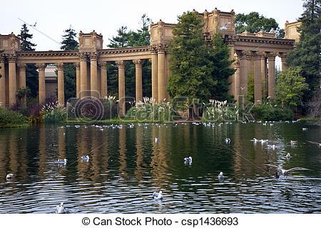 Stock Photos of Grecian Columns Seagulls Water Reflections Palace.