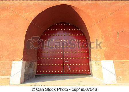 Stock Photo of grand palace gate door plank and nails.