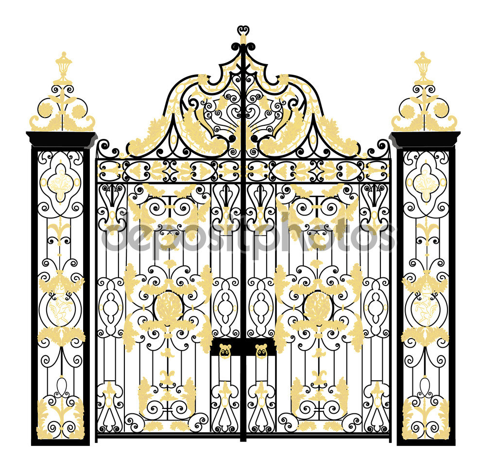 Kensington palace gate, London, United Kingdom — Stock Vector.