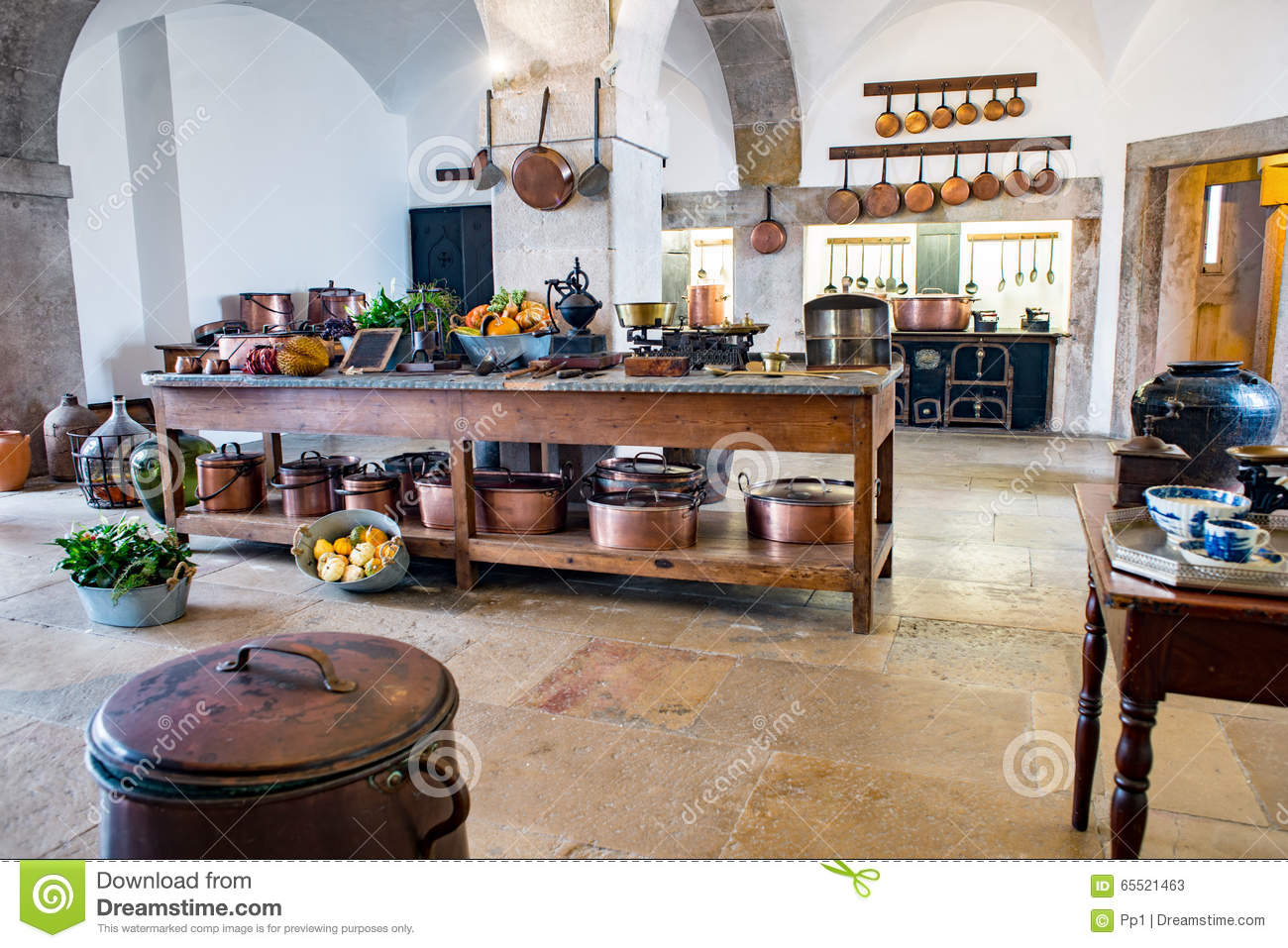 Old Medieval Castle Kitchen Equipment Vintage Pena Palace Stock.