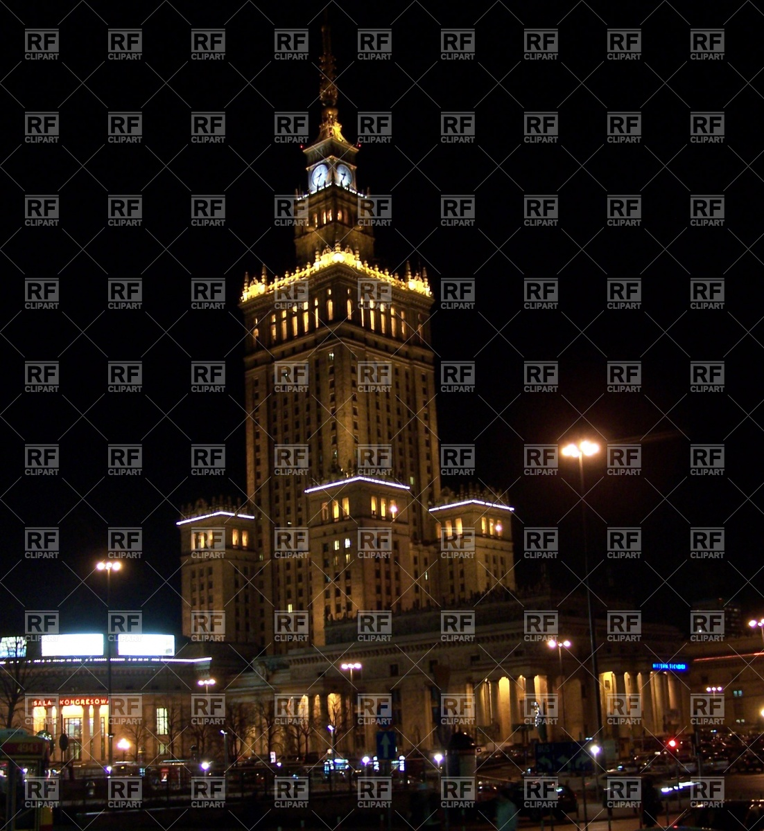Palace of Culture and science in Warsaw Vector Image #397.