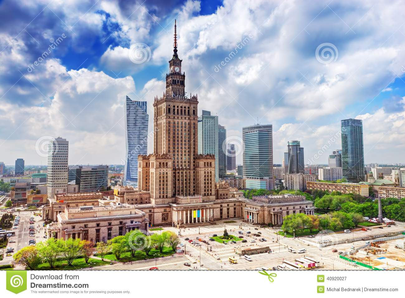 Warsaw, Poland. Palace Of Culture And Science, Downtown. Stock.