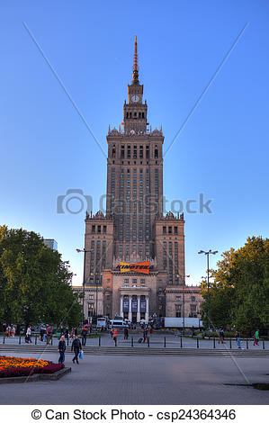 Stock Photo of Warsaw Palace of Culture and Science, most visible.