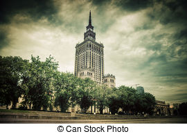 Stock Photos of Warsaw, Poland. Palace of Culture and Science and.