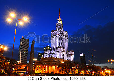 Pictures of Palace of Culture and Science in Warsaw, Poland.