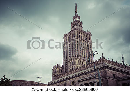 Stock Photography of Warsaw, Poland. City center with Palace of.