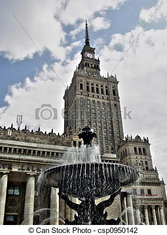 Stock Photo of Palace of Culture in Warsaw.