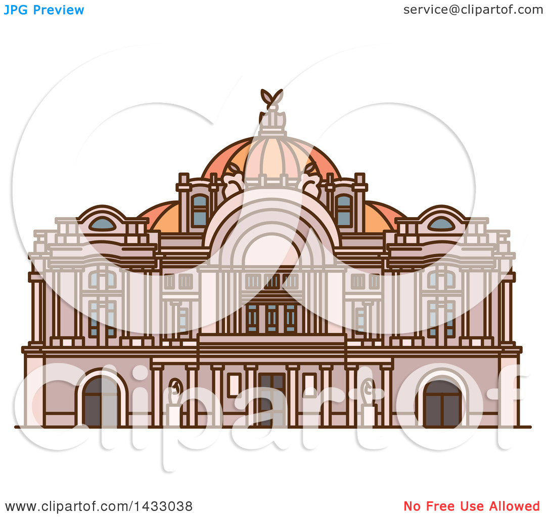 Clipart of a Line Drawing Styled Mexican Landmark, Mexico Palace.