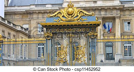 Stock Images of Gates of the palace of justice in Paris. France.