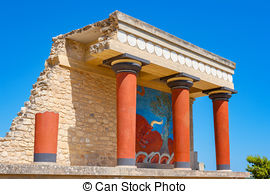 Stock Photography of Knossos Palace Ruins, Heraklion Crete, Greece.