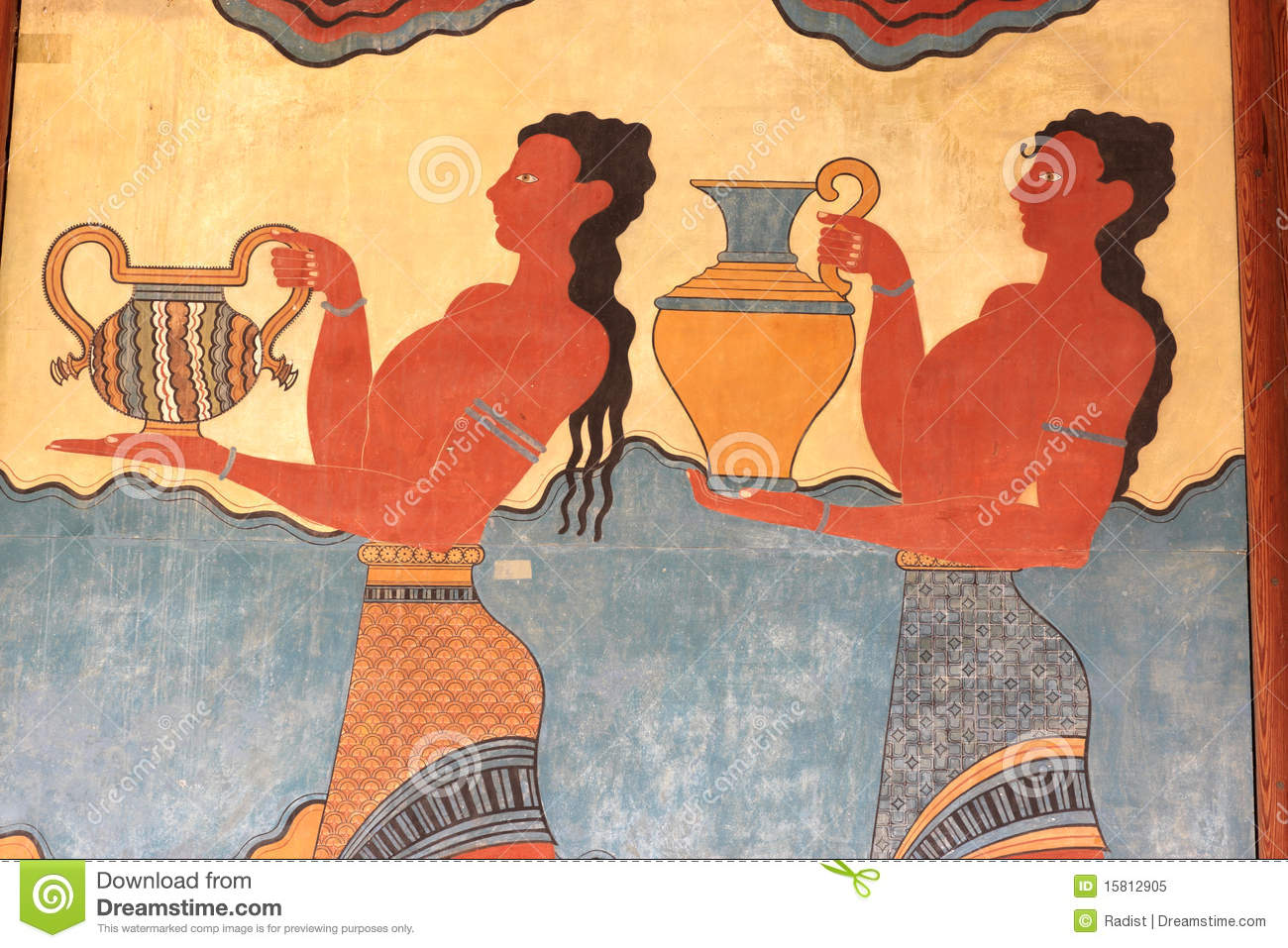 Fresco Of The Palace Of Knossos Royalty Free Stock Photo.