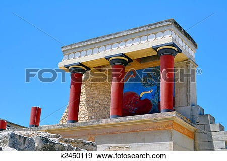 Stock Photograph of Archaeological site of Knossos. Minoan Palace.