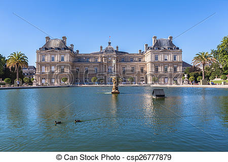Picture of Luxembourg Palace in Jardin du Luxembourg, Paris.